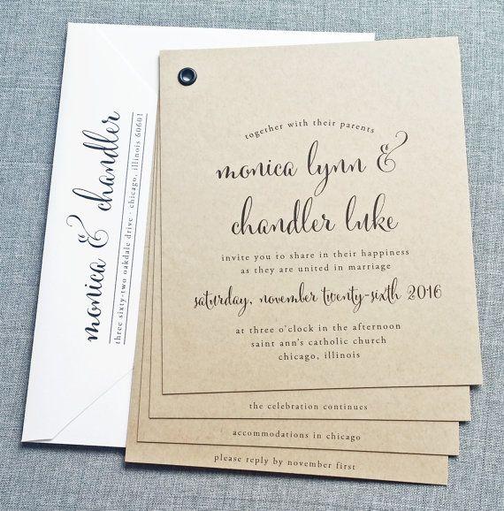 Monica Kraft Booklet Wedding Invitation Sample Black Calligraphy Font Rustic Wedding Invitation Wedding Invitation Samples Wedding Invitations Invitations