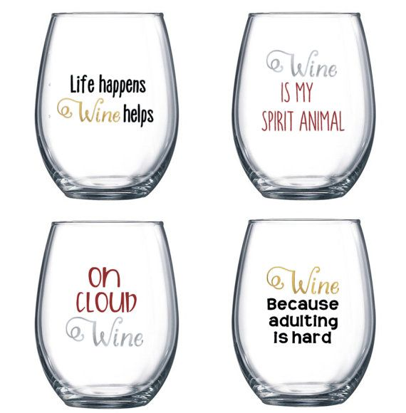 Set Of 4 Stemless Wine Glasses With Funny Cute Sayings Etsy Wine Glass Sayings Cricut Wine Glasses Funny Wine Glass
