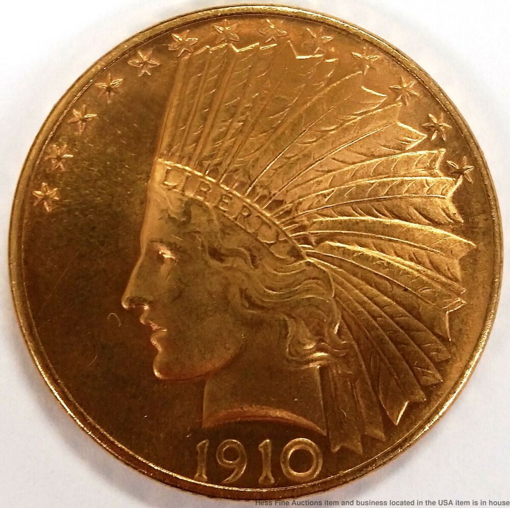 1910 Indian Head Eagle Us Mint American 10 Ten Dollar Gold Coin With Images Gold Coins Coins Gold Eagle Coins