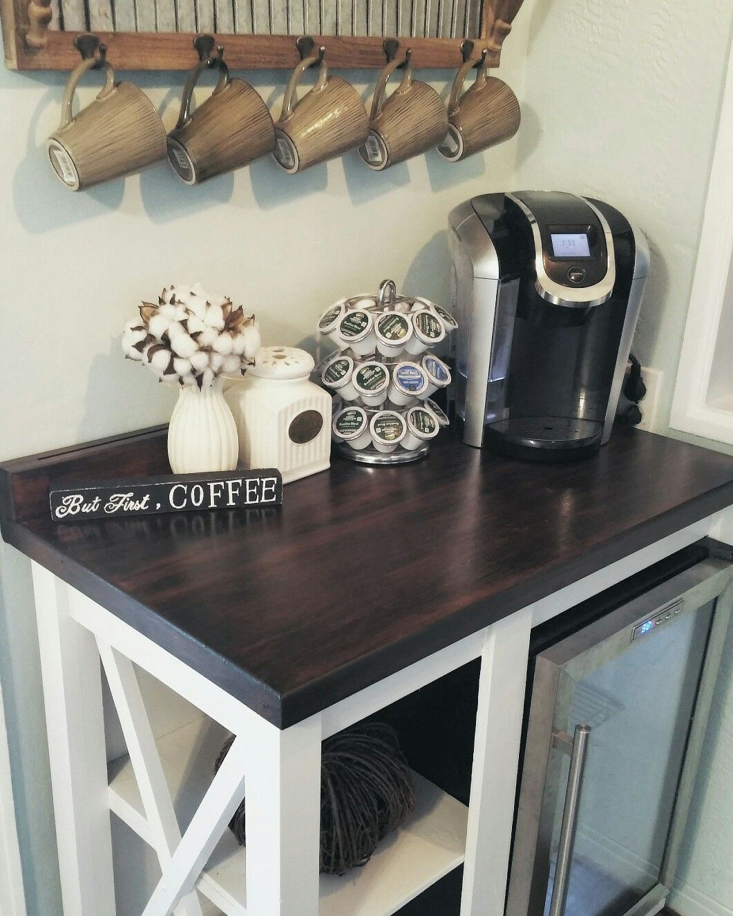 Kuche Top Mount Bar Fridge Farmhouse Coffee Bar With Mini Fridge Coffee Sign Farmhouse