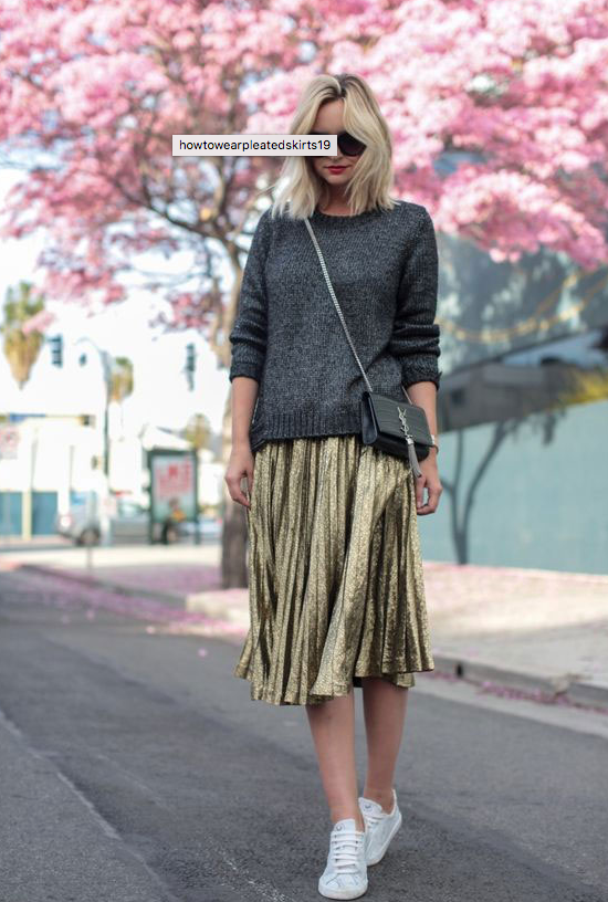 00d998e5a Dress down a metallic pleated skirt with sneakers and pullover sweater
