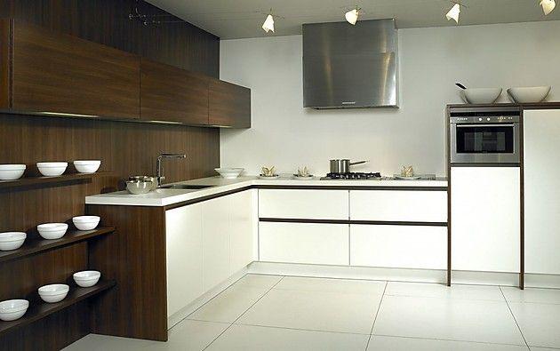 L Form Küche Luxio MX In Weiß Und Dunklem Holz (Rotpunkt Küchen)