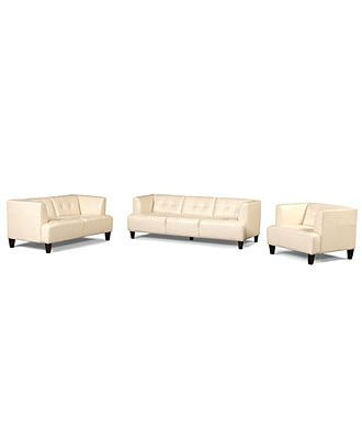 Alessia Leather Sofas 3 Piece Set Sofa Loveseat And Chair
