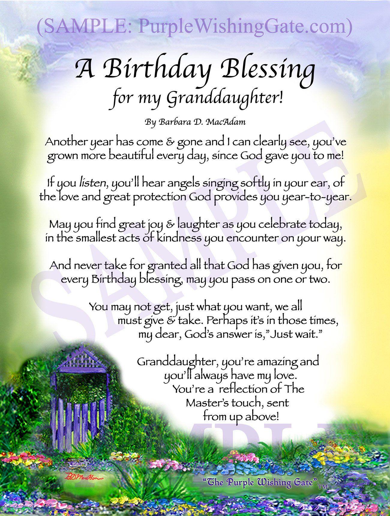 A Birthday Blessing for my Granddaughter! | Birthday ...