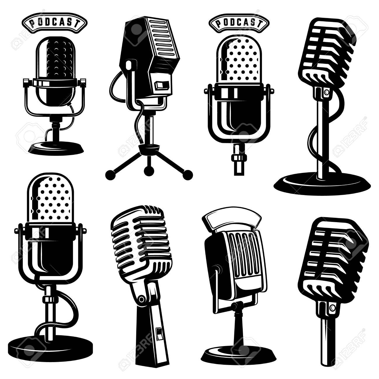 Set Of Retro Style Microphone Icons Isolated On White Background Vector Illustration Illustration Ad Micr Microphone Icon Design Element Background Design