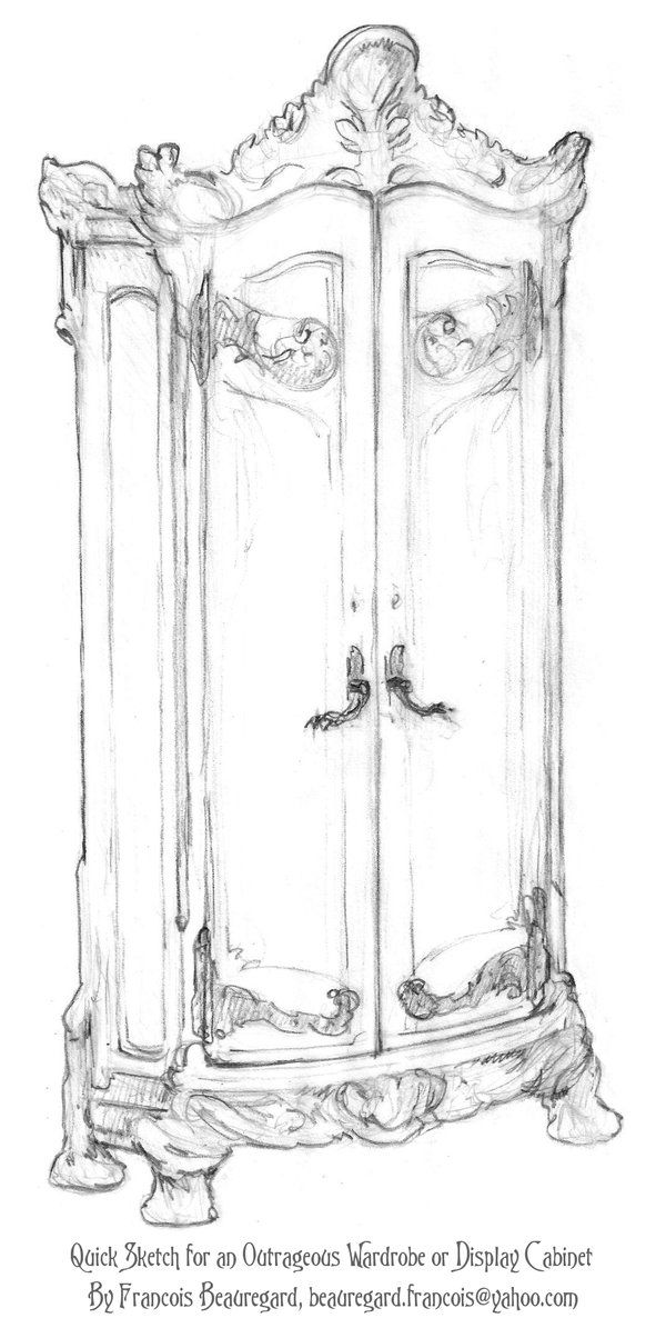 Outrageous Wardrobe Sketch By Built4ever On Deviantart Interior Design Drawings Art Antique Wardrobe