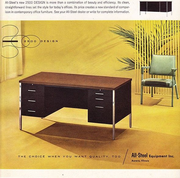 Vintage Ad All Steel Desk 2500 Design Early 1960s Office Via Etsy