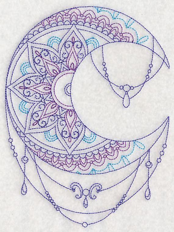 Mendhika Moon bestickt Waffel weben Hand/Schale Handtuch