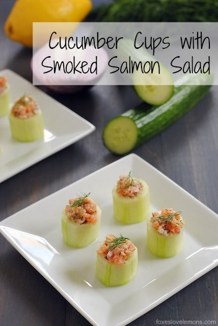 Cucumber Cups with Smoked Salmon Salad - An adorable appetizer that adds an elegant touch to any special occasion. Can easily be made using basic kitchen tools!