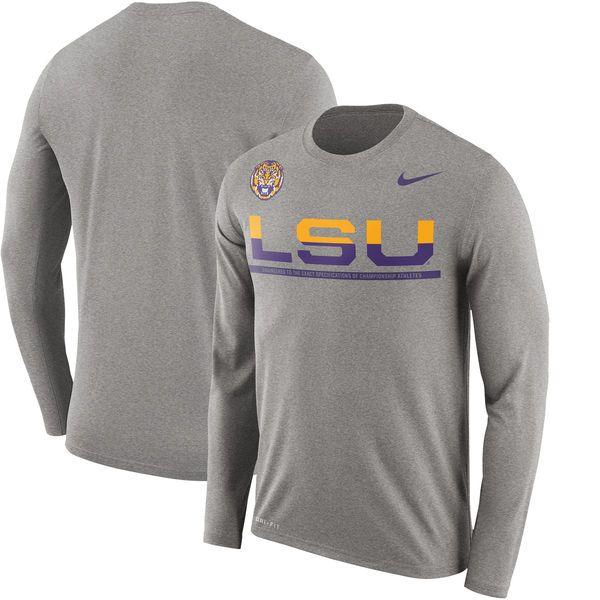 LSU Tigers Nike Staff Sideline Legend Performance Long Sleeve T-Shirt - Gray  - $35.99