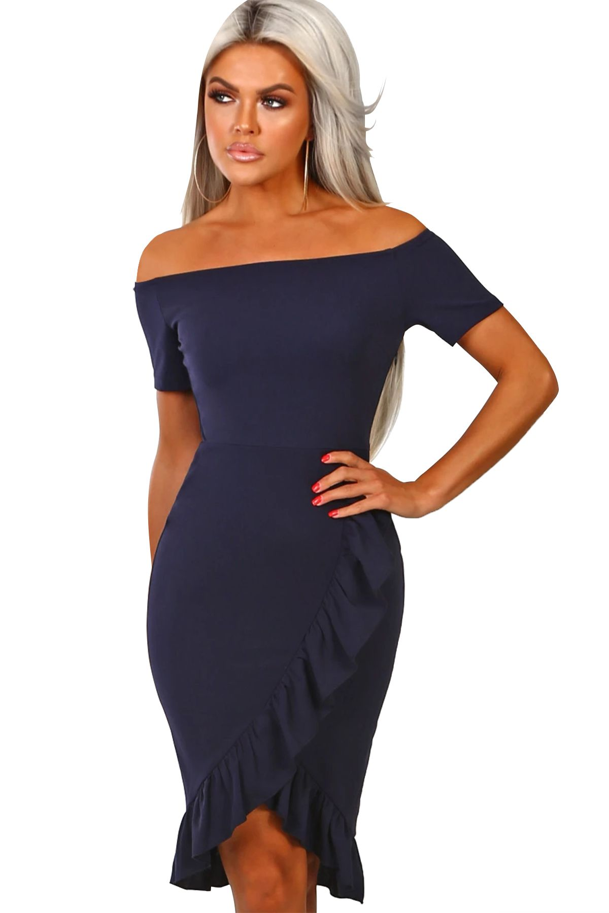 Navy Blue Frill Trim Off Shoulder Short Sleeve Midi Dress #navyblueshortdress
