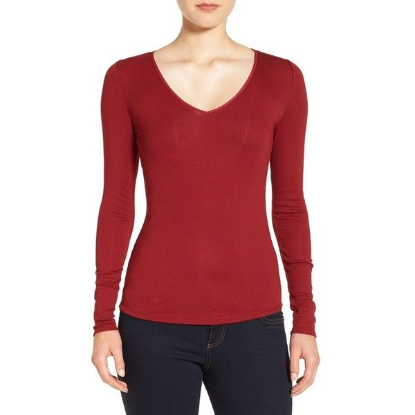 Women's Nordstrom Collection Rib Knit V-Neck Top ($99) ❤ liked on ...