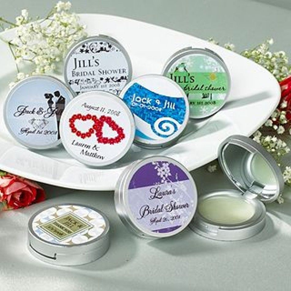 Bridal shower party supplies - Personalized Bridal Shower Premium Lip Balm W Compact Mirror Favors Bridal Lip Balm Mirror Wholesale Wedding Supplies Discount Wedding Favors Party
