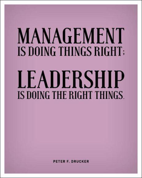Gestão é fazer correctamente as coisas! Liderança é fazer as coisas certas!