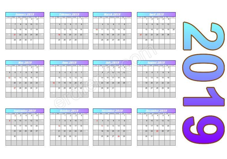 gradient header calendar template 2019 free calendar 2019