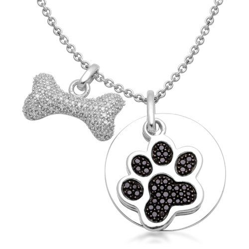 Sterling silver black and white diamond dog paw holiday adds sterling silver black and white diamond dog paw and bone pendant necklace cttw i j color clarity aloadofball Gallery