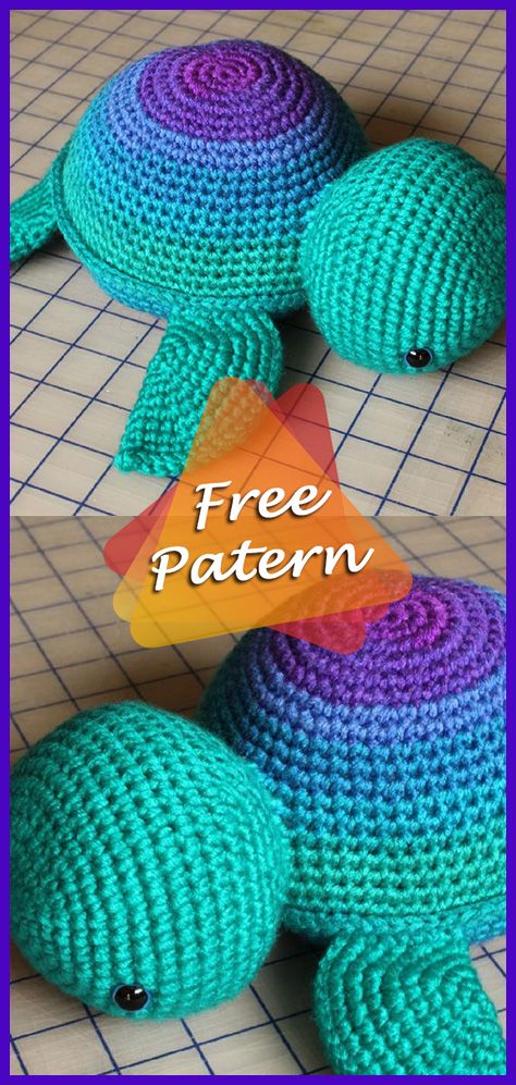 DIY – Instructions for Crocheted Turtle Amigurumi Free Pattern Tutorial #crochetturtles