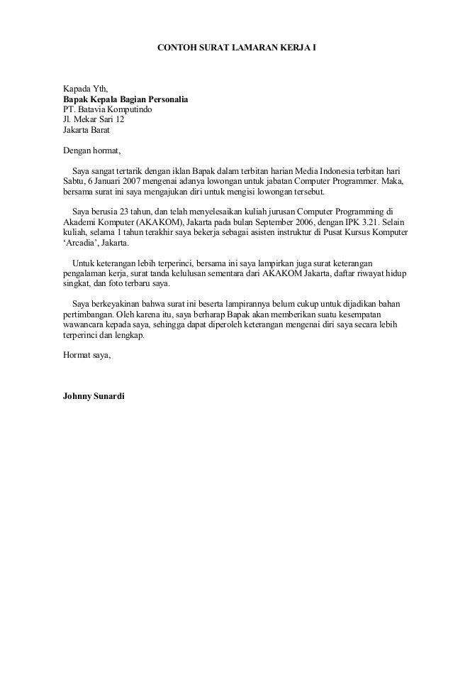 Contoh Surat Lamaran Kerja Di Bank Rakyat Indonesia Surat Lirik Indonesia