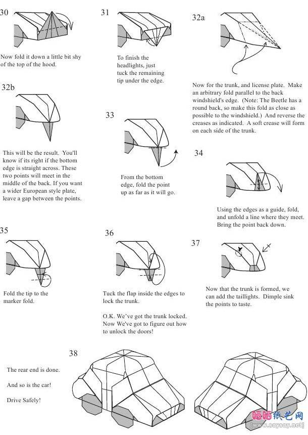 Origami Car Instructions Money Easy Race 1