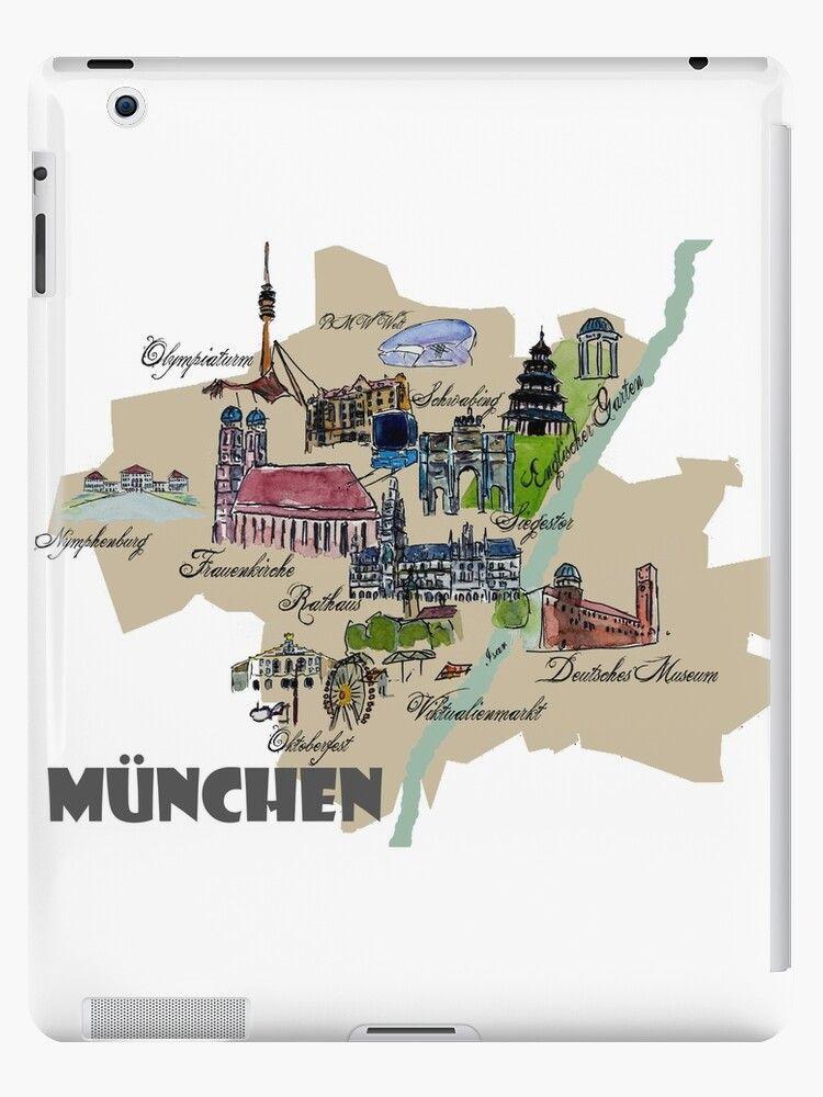 Munchen Karte Ubersicht Mit Den Highlights Frauenkirche Oktoberfest Co Ipad Hulle Klebefolie Von Artshop77 In 2020 Munchen Karte Oktoberfest Frauenkirche