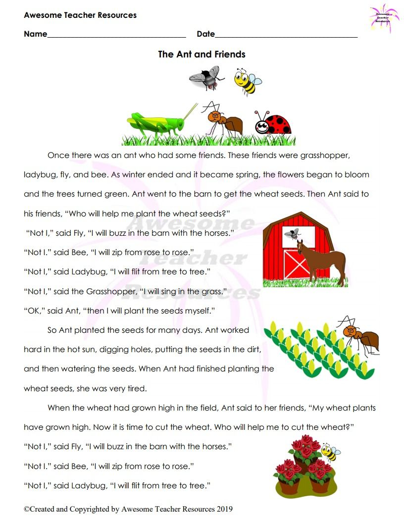 The Ant And Friends Story And Comprehension And Sequencing Worksheet Comprehension Short Stories For Kids Preschool Circle Time [ 1056 x 816 Pixel ]