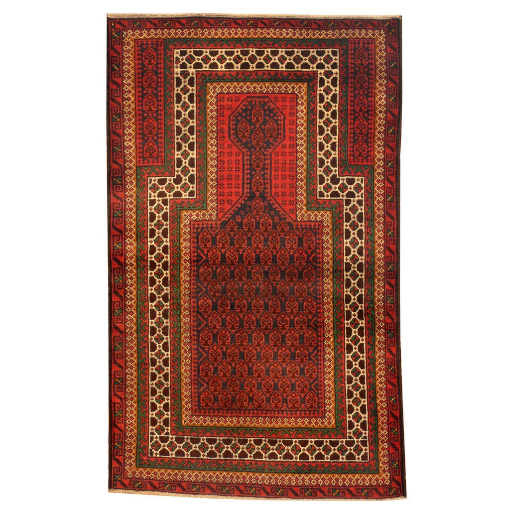 Herat Oriental Afghan Hand-knotted Tribal Balouchi Red/ Ivory Rug