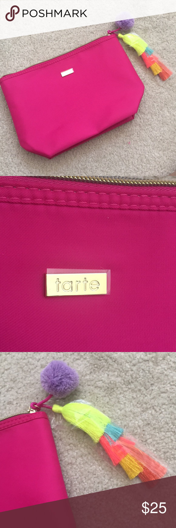 Tarte Cosmetic Bag Pink With Pom And Tassel
