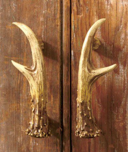 Set Of 2 Rustic Deer Antler Cabinet Door Pull Handle Lodge