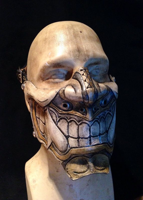 e8505cb5 11 Leather Face Masks on Etsy that will turn any old biker into a Badass.  Leather Oni kabuki half mask