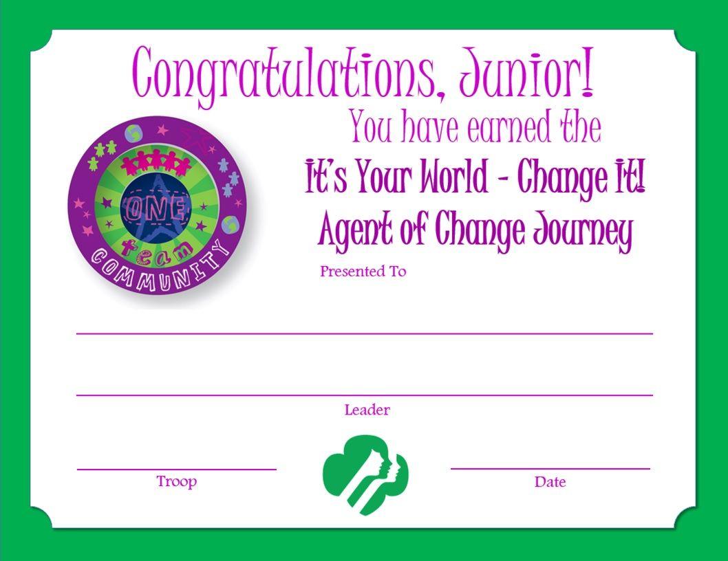 Junior Agent Of Change Journey Award Certificate