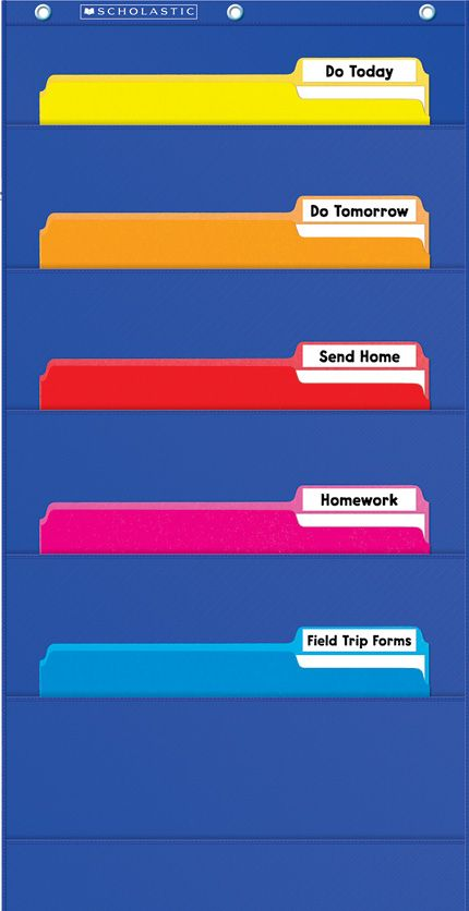 This File Organizer Pocket Chart fits letter-size folders that are perfect for student files, file-folder games, forms, and more! Find this chart in the Classroom Essentials Catalogue: OPUS 2027333 Page 37 See the pages here: http://www.scholastic.ca/clubs/cec/