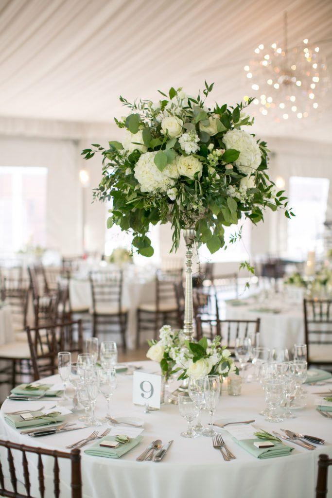 Green white tall flower arrangements galleria