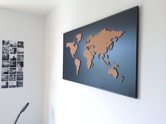 Cork board world map black cork boards cork and office wall design cork board world map black gumiabroncs Choice Image