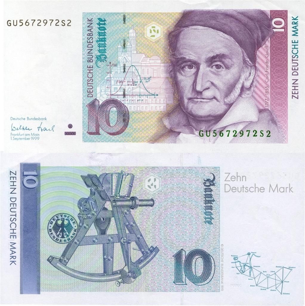 Carl Friedrich Gauss 10 Deutsche Marks Glossy Poster Picture Photo Math Cash 663 Currency Design Bank Notes Money Collection