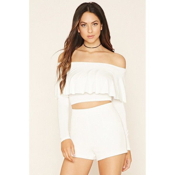 07acda509bb Forever 21 Women's Off-the-Shoulder Crop Top ($20) ❤ liked on Polyvore  featuring tops, off shoulder tops, forever 21, long sleeve tops, white long  sleeve ...