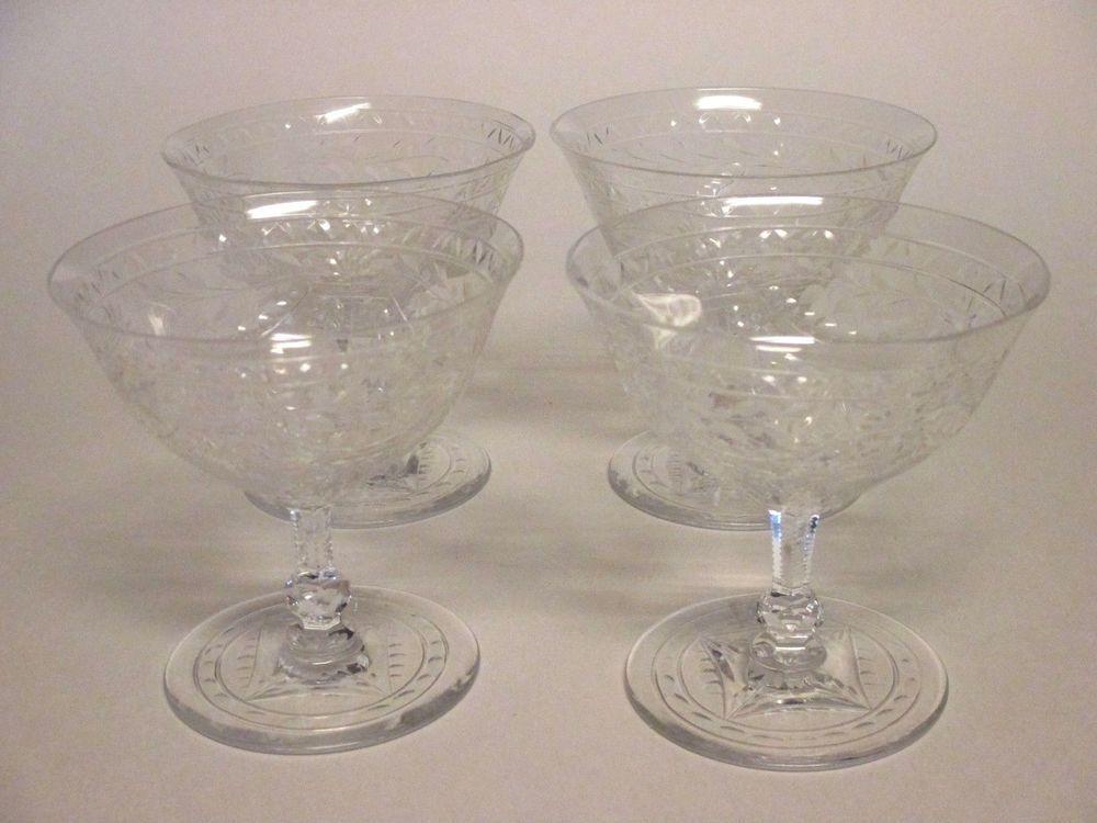Set 4 kosta boda cut crystal short stem sherbet glasses kos41 sweden kostaboda elegant - Short stemmed wine glass ...