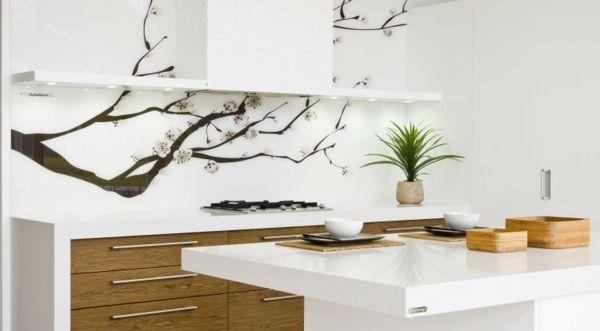 Küche Feng Shui Stil einrichten Glas Rückwand bedrücken new flat - k che fliesenspiegel glas