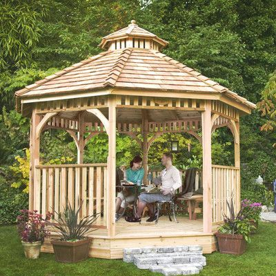 Outdoor Living Today Bayside 12 Ft W X 13 Ft D Solid Wood Patio Gazebo Patio Gazebo Luxury Landscaping Gazebo