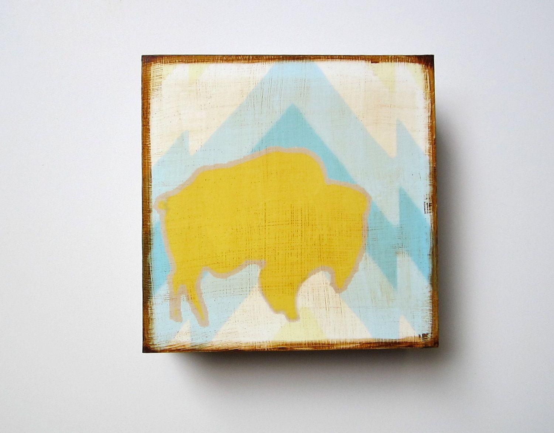 Art Block l Buffalo Mountain Southwest Geometric 5x5 wood block ...