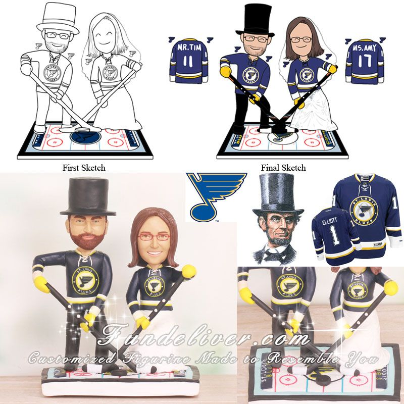 st louis blues ice hockey wedding cake toppers