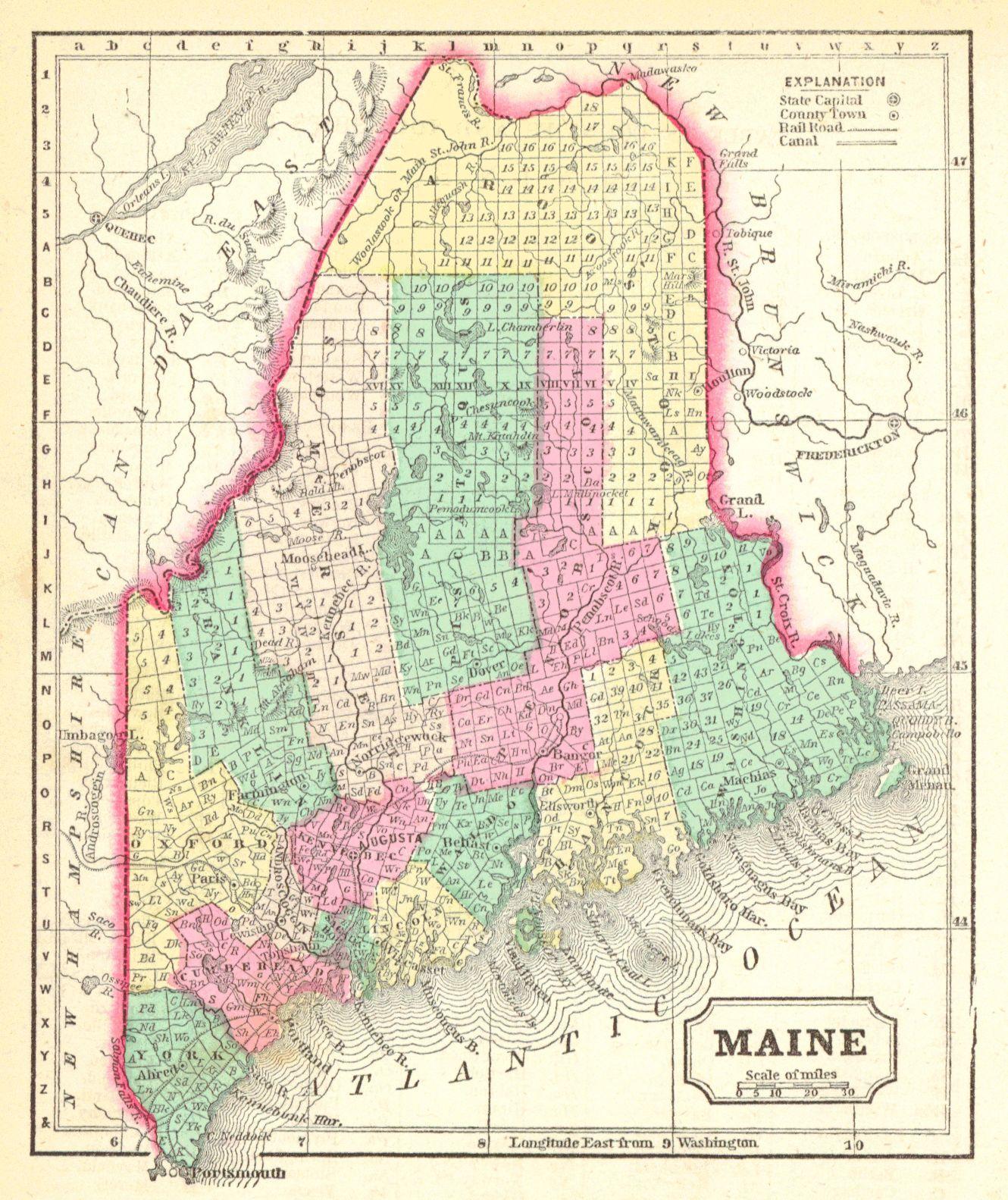 Map Antique Maine Morse & Gaston Griswold A B 1857 New Orleans