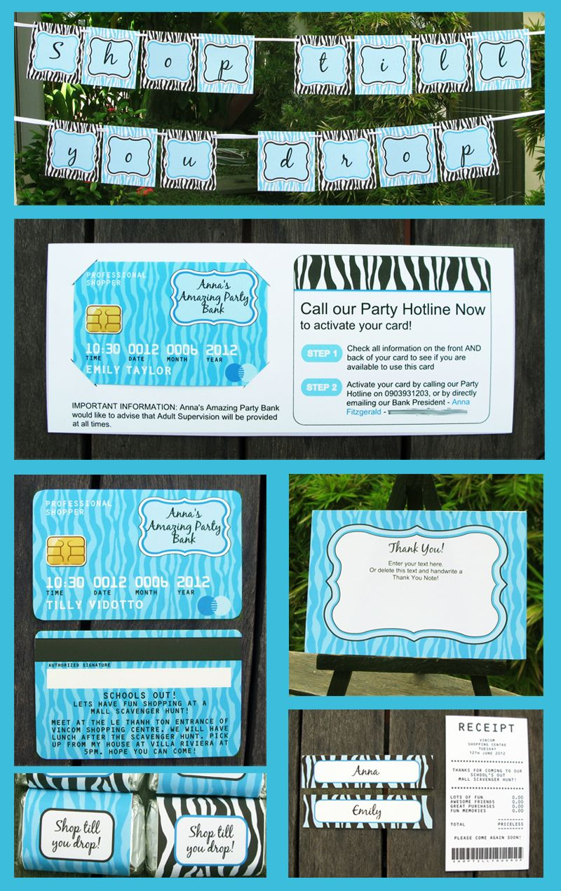 Mall Scavenger Hunt Party Printables & Invitations – turquoise ...