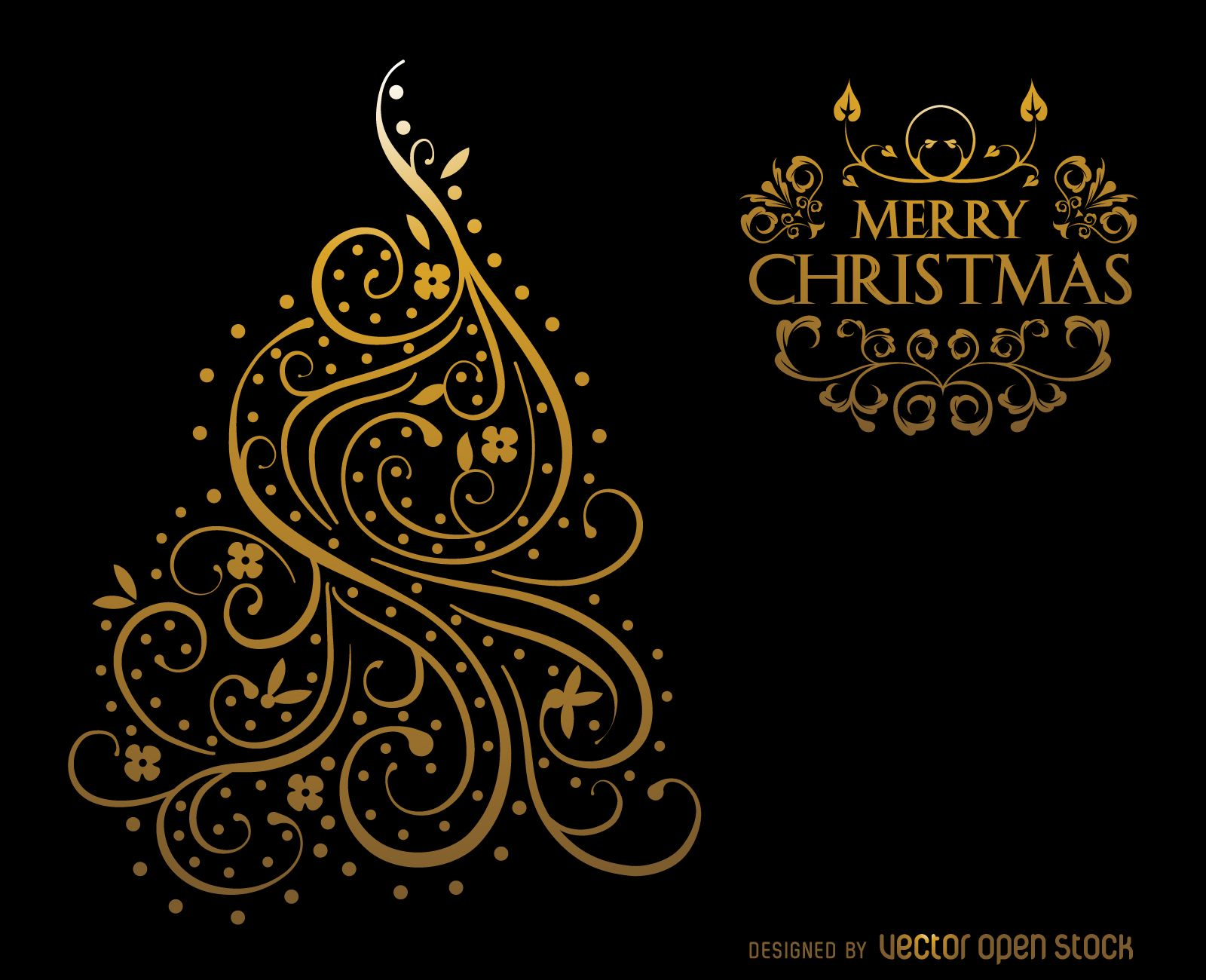 Christmas card design featuring ornaments with swirls and