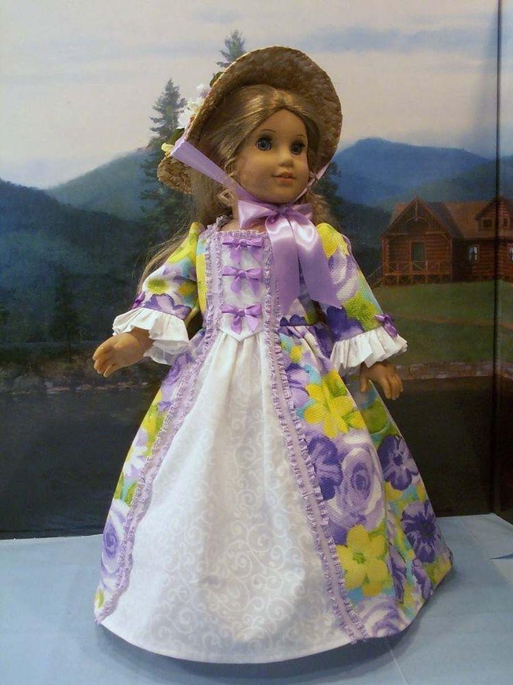 Lavender April gown hat fits American Girl Elizabeth Felicity 18 in. dolls #ClothingShoes