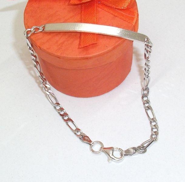 9ba3a7a3c3d8 Figaroarmband mit Stegplatte 925 massiv -  Massives Figaroarmband  Damen-Herren Silberarmband mit Stegplatte in Silber  Sehr schön  gearbeitetes ...