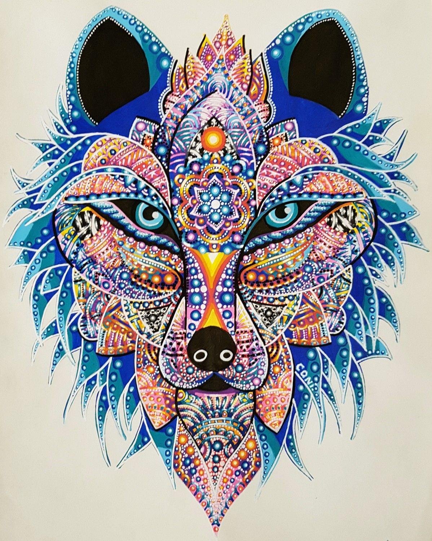 peinture de loup l 39 acrylique loup mandala animal fantastique wolf fantastic peinture. Black Bedroom Furniture Sets. Home Design Ideas
