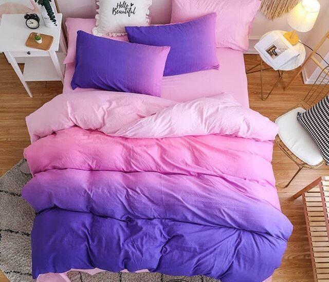 Photo of Bedding-Set Comforter Duvet-Cover Queen-Bed Pink Purple Home Simple Bed Set –  C…