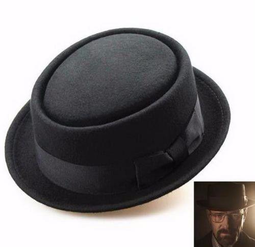 Men Women Wool Felt Crushable Porkpie Vintage Round Short Brim Fedora Hat ·Caps