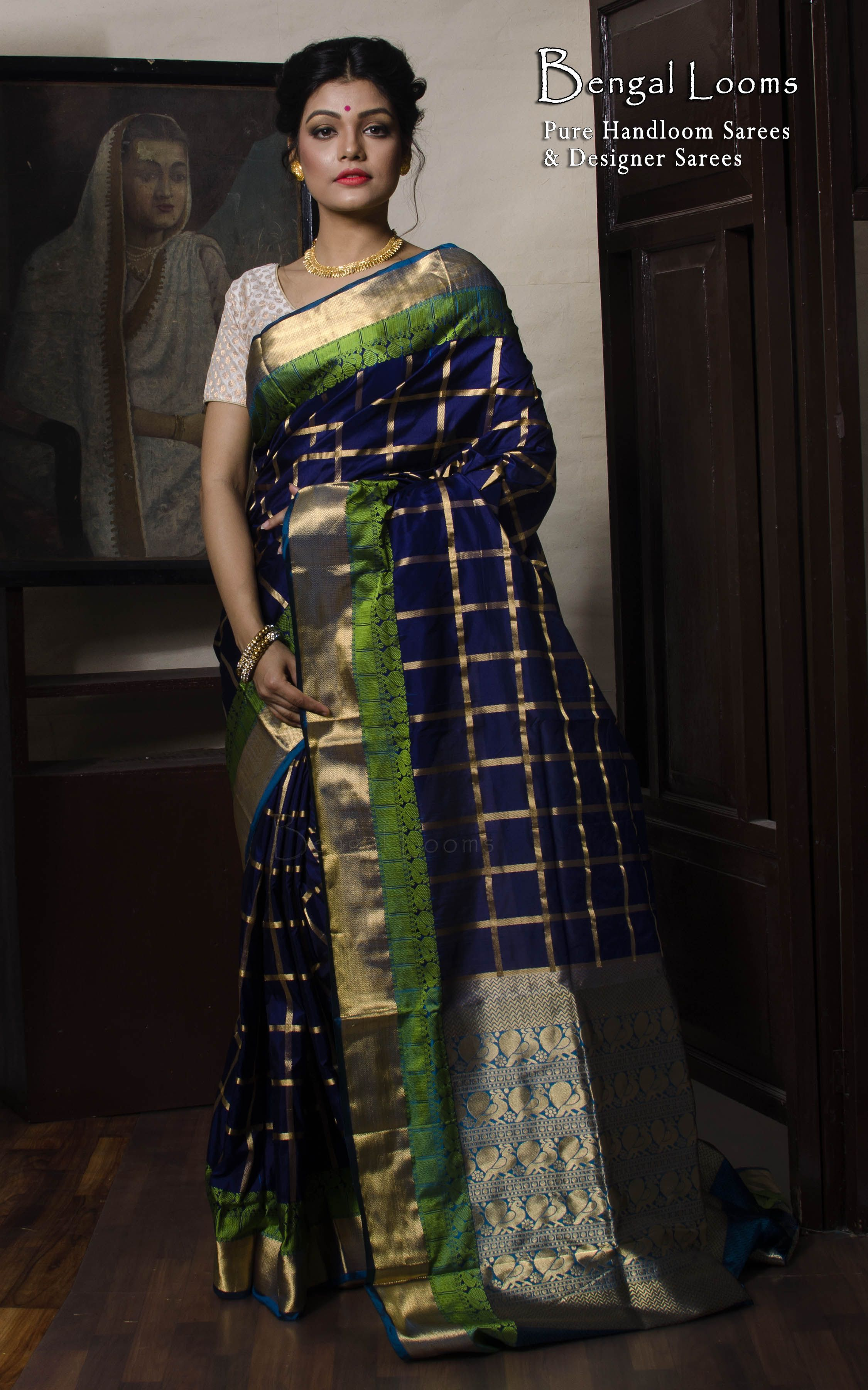 b24095e63ea51 Checks Kanjiavaram Silk Saree in Dark Blue and Green