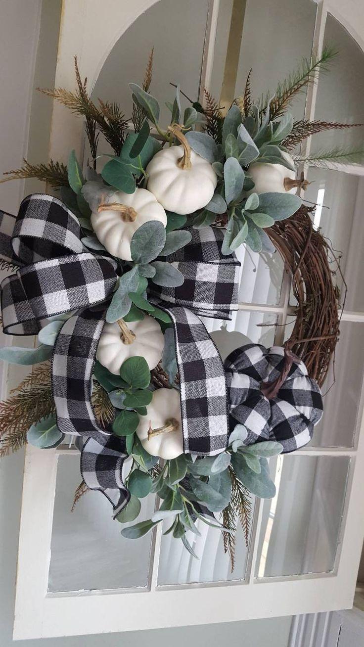 Photo of Fall Farmhouse Wreath, Farmhouse Door Wreath, White Pumpkin Wreath, Elegant Halloween Wreath, Buffalo Plaid Wreath, Autumn Buffalo Plaid